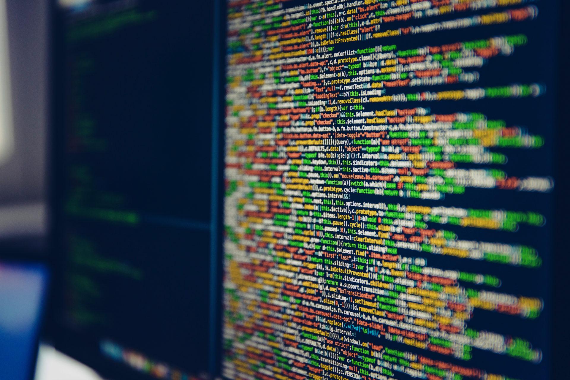 data code on a computer screen