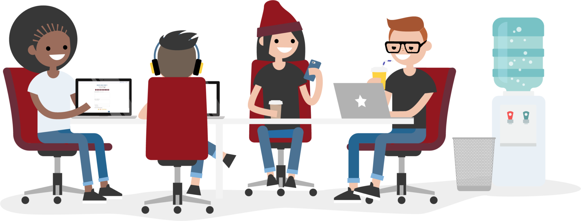 graphic of tech team working together at a table
