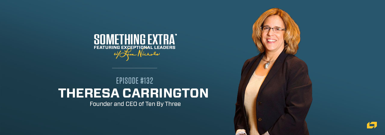 """""""Something Extra episode 132"""" blue podcast banner with an image of a woman, Theresa Carrington"""
