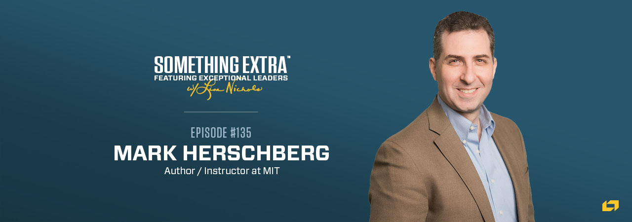"""""""Something Extra episode 135"""" blue podcast banner with an image of a man, Mark Herschberg"""