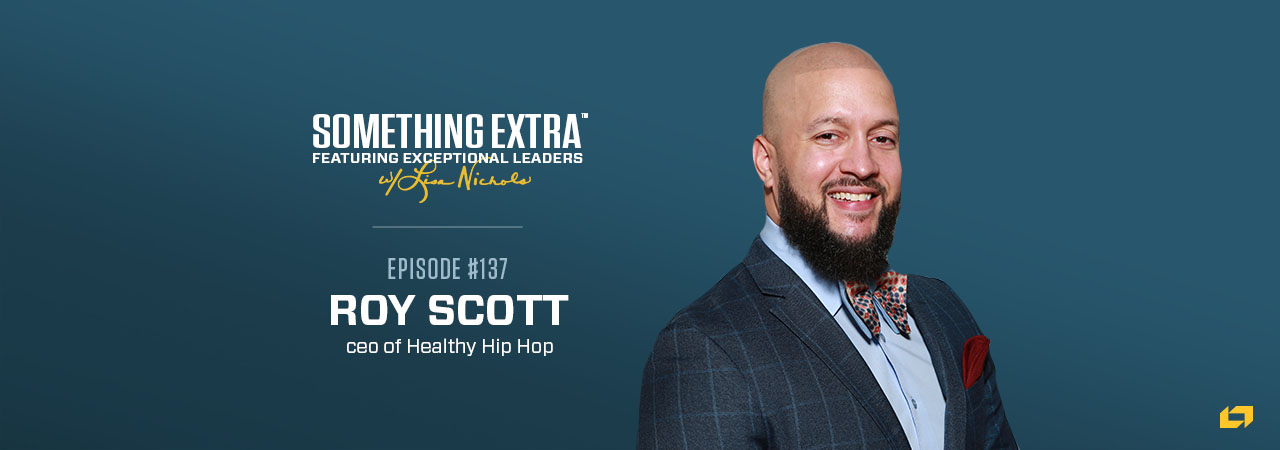 """""""Something Extra episode 137"""" blue podcast banner with an image of a man, Roy Scott"""