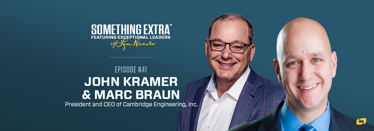 """""""Something Extra episode 41"""" blue podcast banner with an image of two men, John Kramer and Marc Braun"""