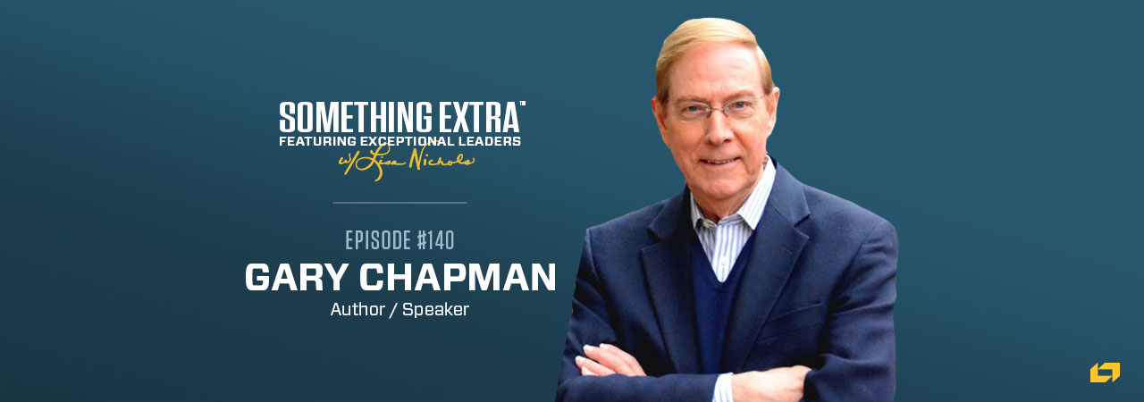 """""""Something Extra episode 140"""" blue podcast banner with an image of a man, Gary Chapman"""