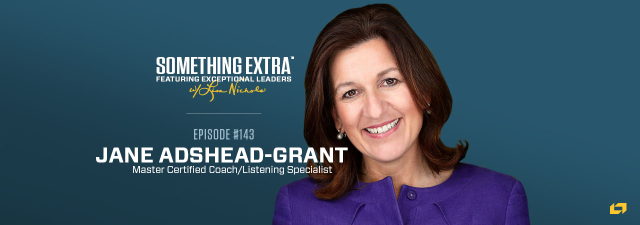 """""""Something Extra episode 143"""" blue podcast banner with an image of a woman, Jane Adshead-Grant"""