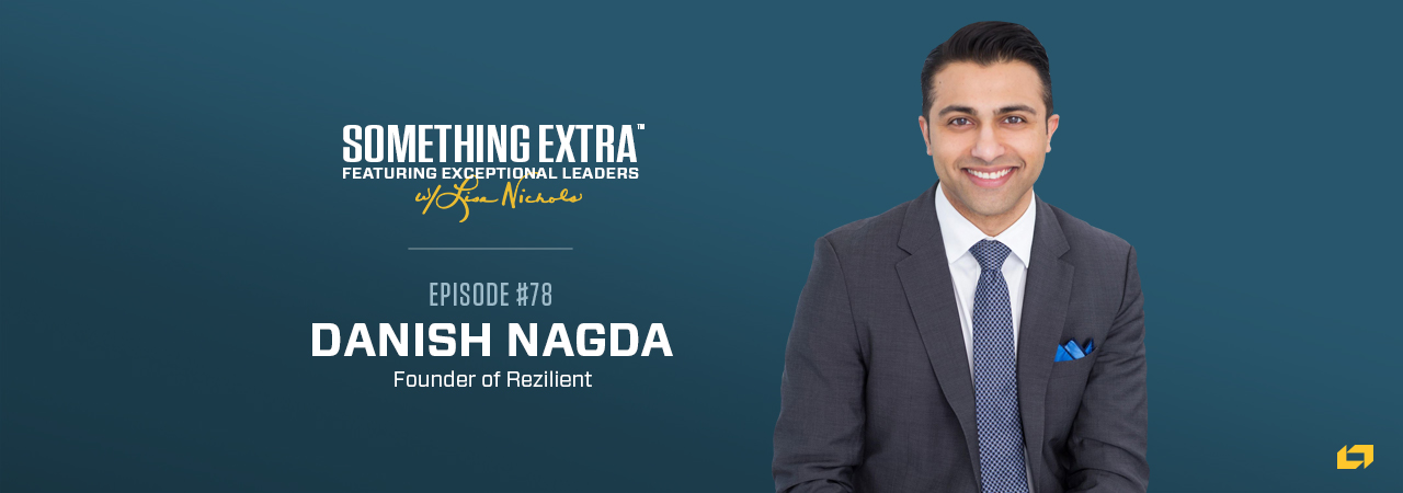 """""""Something Extra episode 78"""" blue podcast banner with an image of a man, Danish Nagda"""