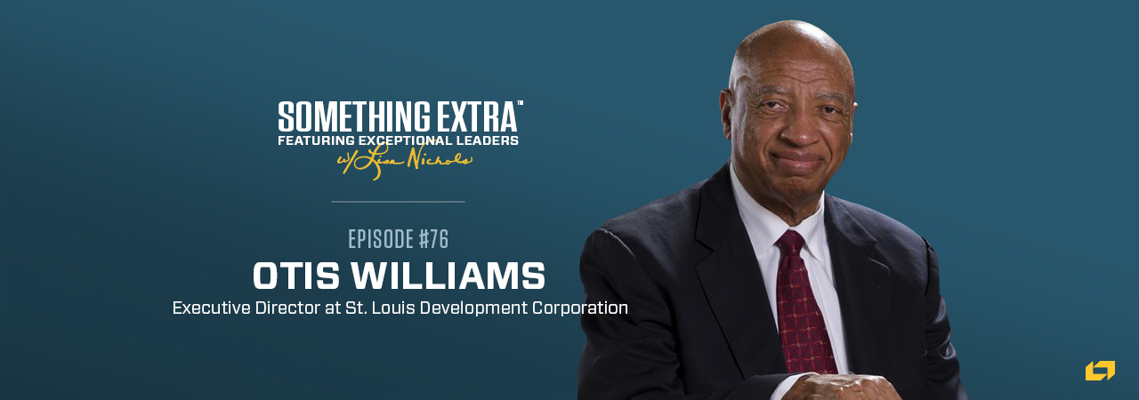 """""""Something Extra episode 76"""" blue podcast banner with an image of a man, Otis Williams"""