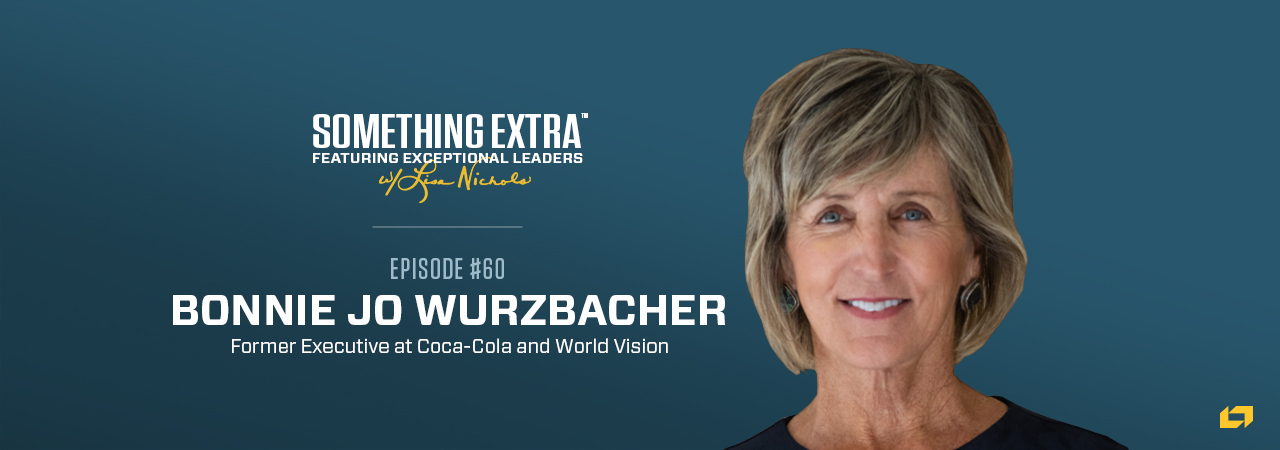 """""""Something Extra episode 60"""" blue podcast banner with an image of a woman, Bonnie Jo Wurzbacher"""