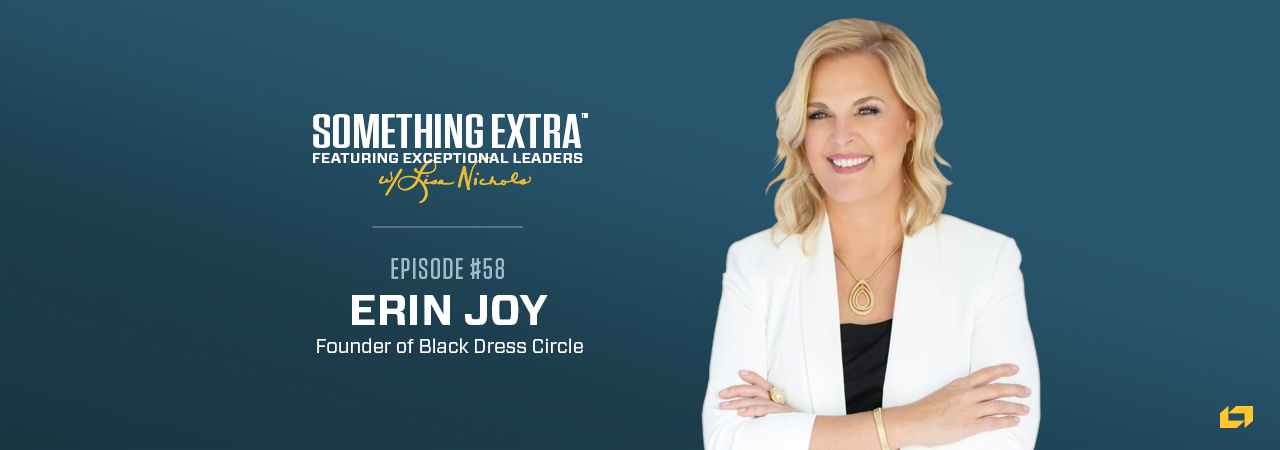 """""""Something Extra episode 58"""" blue podcast banner with an image of a woman, Erin Joy"""