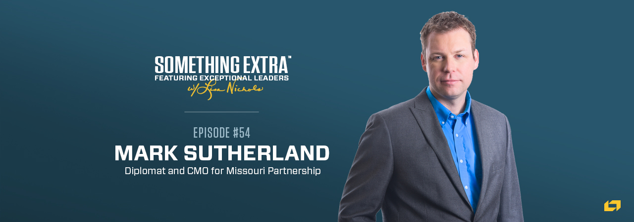 """""""Something Extra episode 54"""" blue podcast banner with an image of a man, Mark Sutherland"""