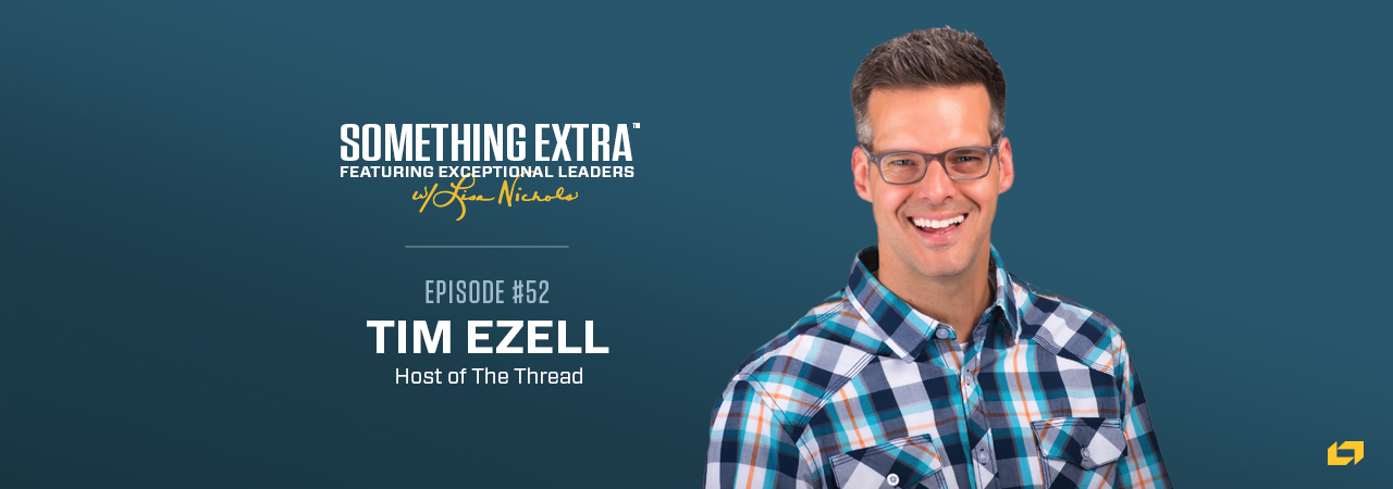 """""""Something Extra episode 52"""" blue podcast banner with an image of a man, Tim Ezell"""