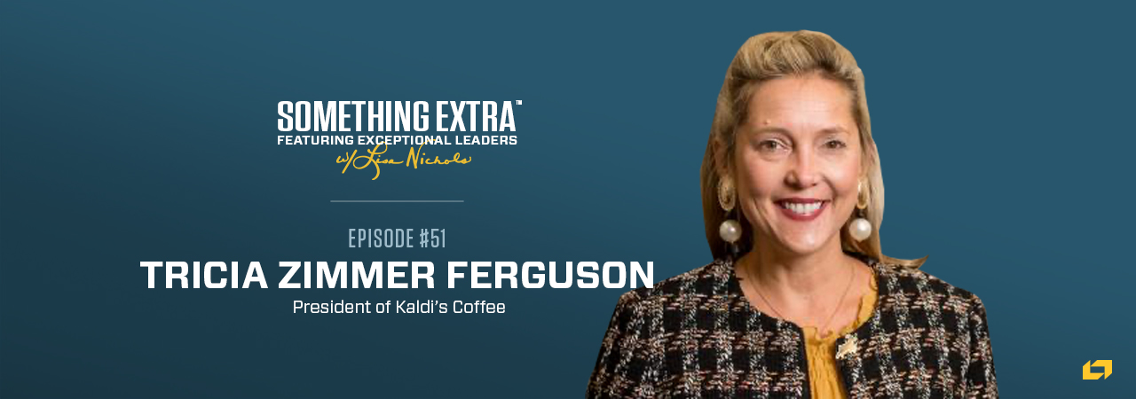 """""""Something Extra episode 51"""" blue podcast banner with an image of a woman, Tricia Zimmer Ferguson"""