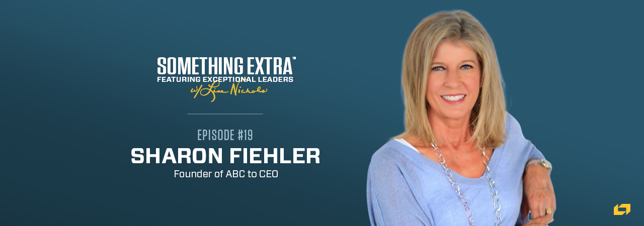 """""""Something Extra episode 19"""" blue podcast banner with an image of a woman, Sharon Fiehler"""