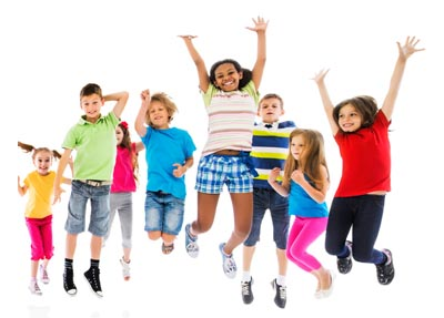 kids jumping with excitement