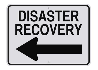 disaster recovery sign with arrow