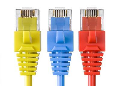 three colored computer cords